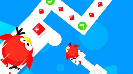 Красная птичка на нарисованной дорожке из Tap Tap Dash