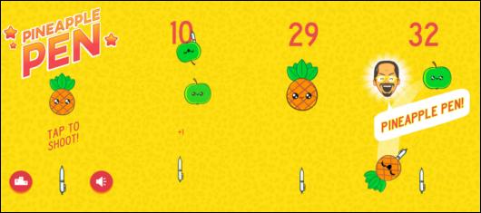 Нарисованные ананасы и яблоки из игры