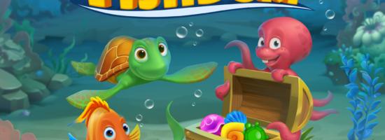 Нарисованные рыбка, черепаха и осминог из игры Fishdom