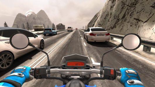 Гонка по снежной трассе в Traffic Rider